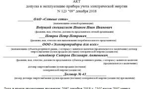 Акт ввода в эксплуатацию прибора учета электроэнергии